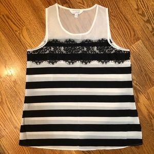 Charming Charlie Striped Tank with Lace Detail